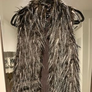 Long Feathered Fur Vest